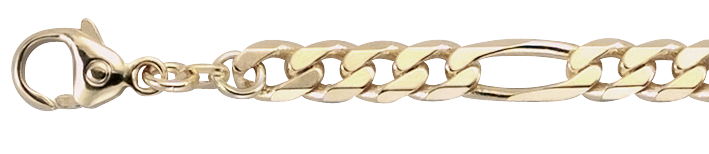 Armband Figaro diamantiert 585 Gold (14 Karat) massiv 5,3mm Karabiner Binder