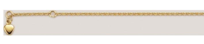Fusskette Herz-Kette 333 Gold massiv 1,7g bis 25 cm 3,6mm Karabiner Binder