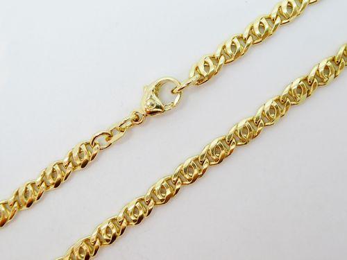 Kette Tigerauge 585 Gold (14 Karat) Gelbgold Karabiner 8,4g 4,3mm 45cm Binder