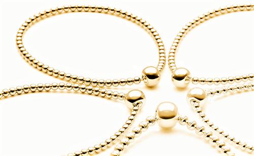 Armband Kugel-Armreif 750 Gold (18 Karat) Gelbgold hohl 3,1mm Elastic Elements Binder